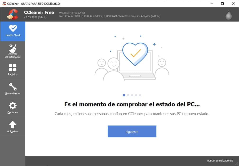 Interfaz de CCleaner