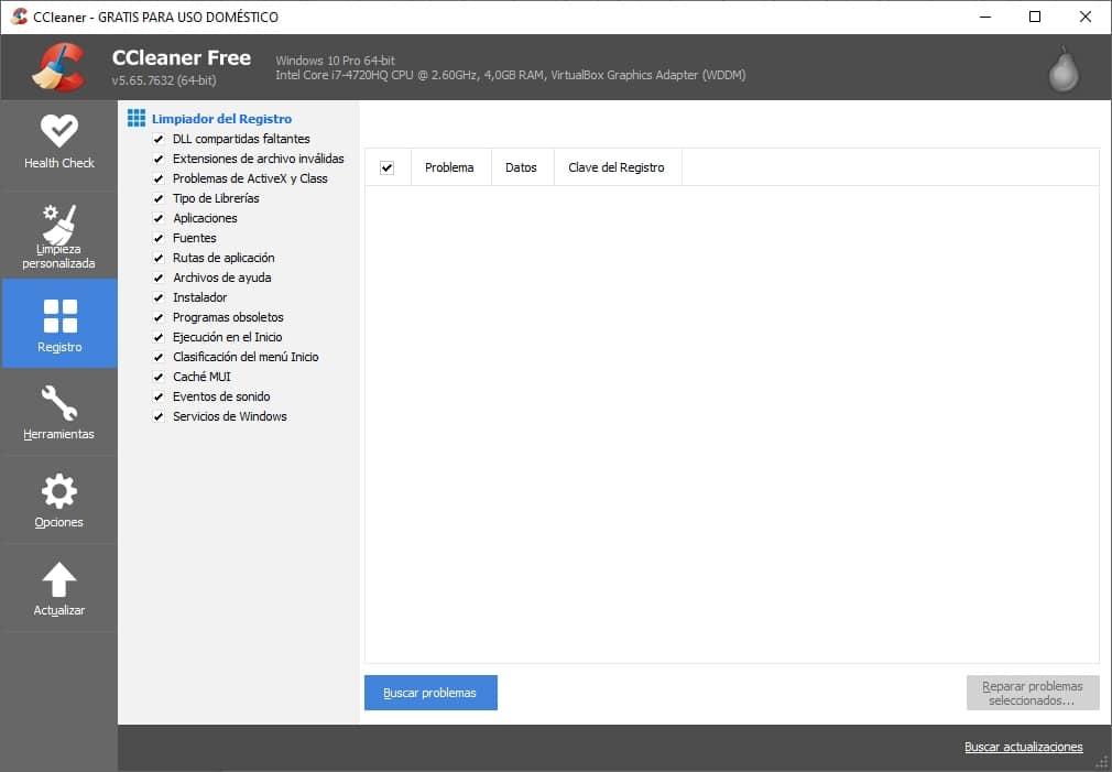 Limpieza de registro en CCLeaner