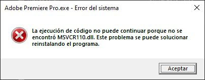 Error de ejecución MSVCR110